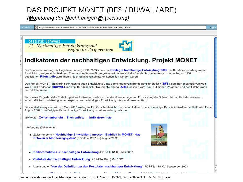 Umweltindikatoren und nachhaltige Entwicklung. ETH Zürich, UMNW, WS 2002-2003. Dr. M. Morosini DAS PROJEKT MONET (BFS / BUWAL / ARE) (Monitoring der N