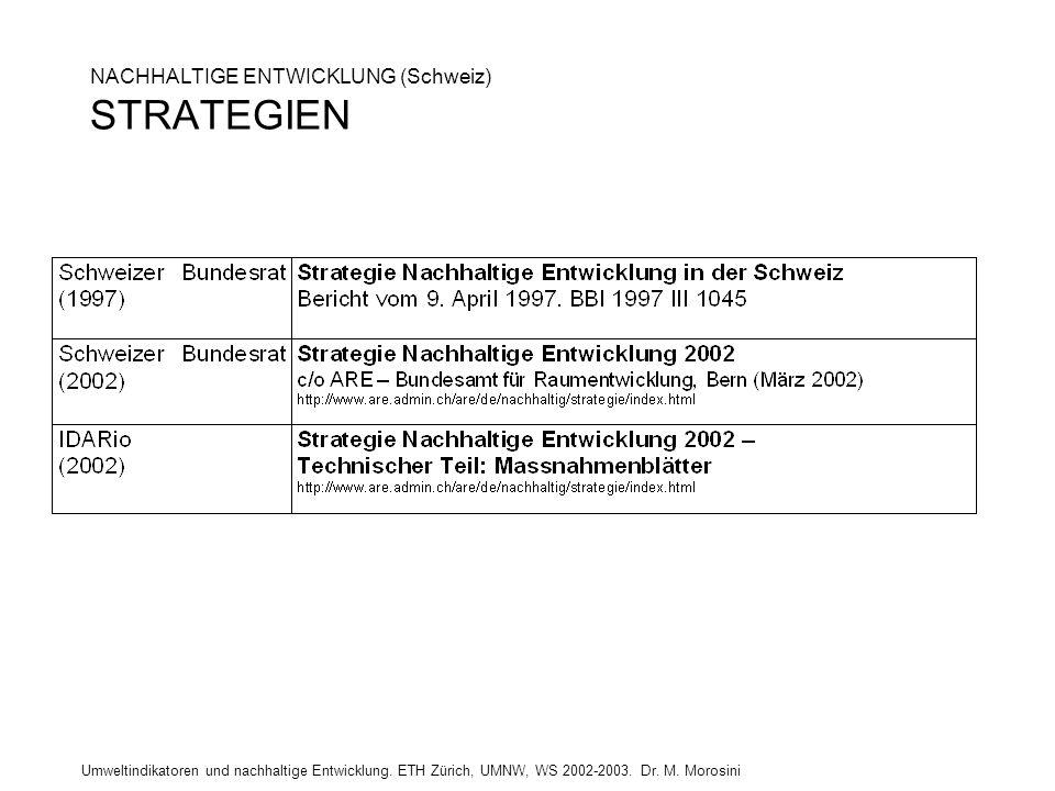 Umweltindikatoren und nachhaltige Entwicklung. ETH Zürich, UMNW, WS 2002-2003. Dr. M. Morosini NACHHALTIGE ENTWICKLUNG (Schweiz) STRATEGIEN