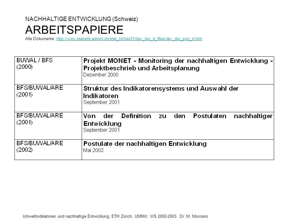 Umweltindikatoren und nachhaltige Entwicklung. ETH Zürich, UMNW, WS 2002-2003. Dr. M. Morosini NACHHALTIGE ENTWICKLUNG (Schweiz) ARBEITSPAPIERE Alle D