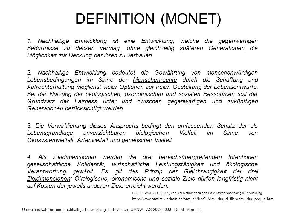 Umweltindikatoren und nachhaltige Entwicklung. ETH Zürich, UMNW, WS 2002-2003. Dr. M. Morosini DEFINITION (MONET) 1. Nachhaltige Entwicklung ist eine