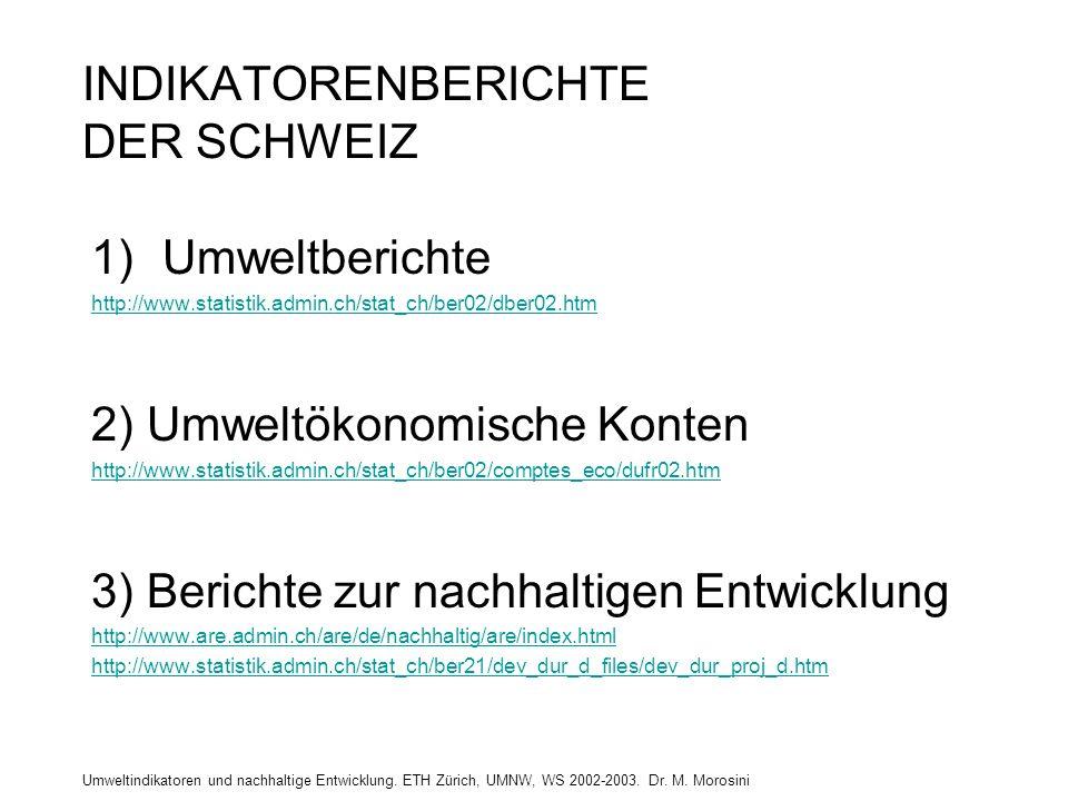 Umweltindikatoren und nachhaltige Entwicklung. ETH Zürich, UMNW, WS 2002-2003. Dr. M. Morosini INDIKATORENBERICHTE DER SCHWEIZ 1)Umweltberichte http:/
