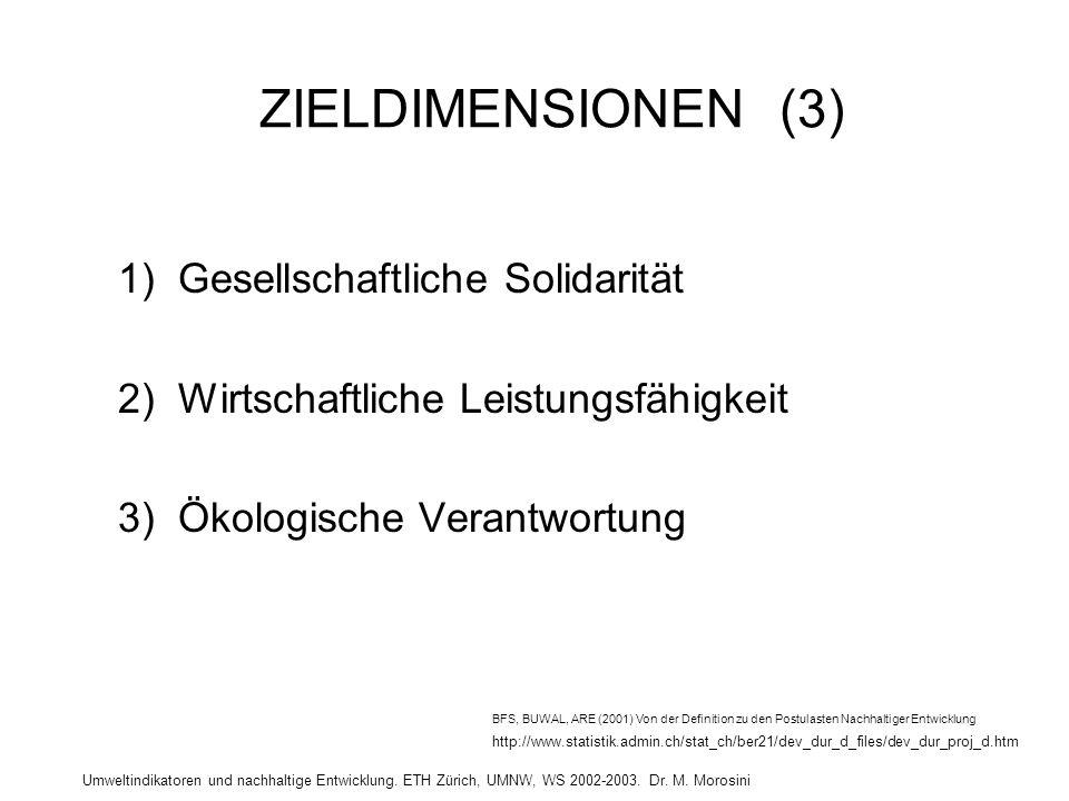 Umweltindikatoren und nachhaltige Entwicklung. ETH Zürich, UMNW, WS 2002-2003. Dr. M. Morosini ZIELDIMENSIONEN (3) 1) Gesellschaftliche Solidarität 2)