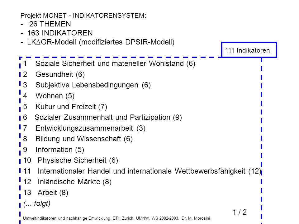Umweltindikatoren und nachhaltige Entwicklung. ETH Zürich, UMNW, WS 2002-2003. Dr. M. Morosini 1 Soziale Sicherheit und materieller Wohlstand (6) 2 Ge