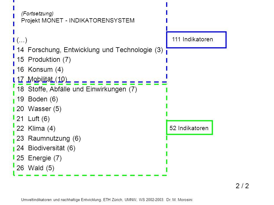 Umweltindikatoren und nachhaltige Entwicklung. ETH Zürich, UMNW, WS 2002-2003. Dr. M. Morosini (...) 14 Forschung, Entwicklung und Technologie (3) 15