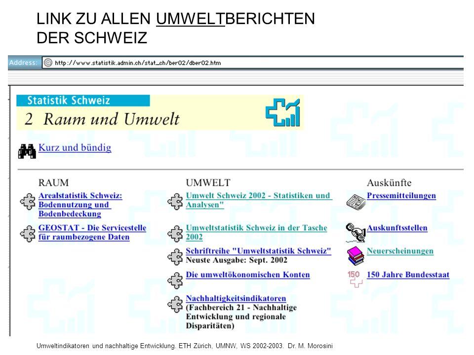 Umweltindikatoren und nachhaltige Entwicklung. ETH Zürich, UMNW, WS 2002-2003. Dr. M. Morosini LINK ZU ALLEN UMWELTBERICHTEN DER SCHWEIZ