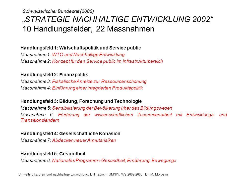 Schweizerischer Bundesrat (2002) STRATEGIE NACHHALTIGE ENTWICKLUNG 2002 10 Handlungsfelder, 22 Massnahmen Handlungsfeld 1: Wirtschaftspolitik und Serv