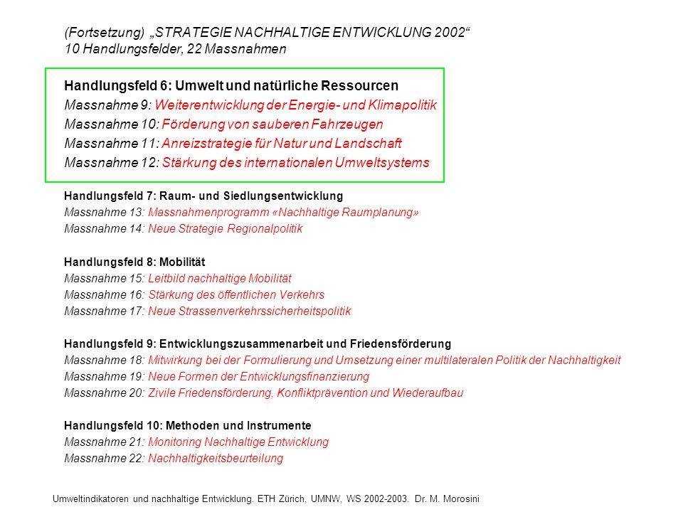 Umweltindikatoren und nachhaltige Entwicklung. ETH Zürich, UMNW, WS 2002-2003. Dr. M. Morosini (Fortsetzung) STRATEGIE NACHHALTIGE ENTWICKLUNG 2002 10