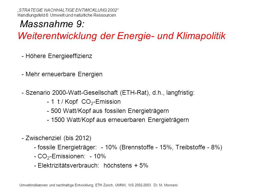 Umweltindikatoren und nachhaltige Entwicklung. ETH Zürich, UMNW, WS 2002-2003. Dr. M. Morosini STRATEGIE NACHHALTIGE ENTWICKLUNG 2002 Handlungsfeld 6: