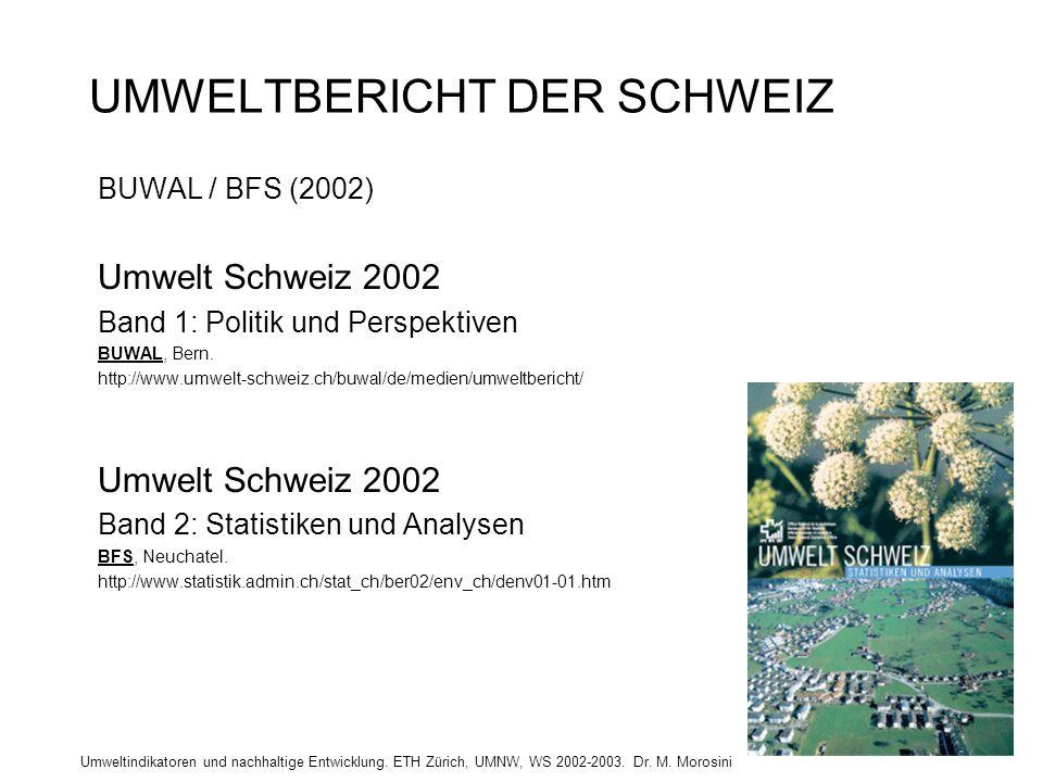 Umweltindikatoren und nachhaltige Entwicklung. ETH Zürich, UMNW, WS 2002-2003. Dr. M. Morosini UMWELTBERICHT DER SCHWEIZ BUWAL / BFS (2002) Umwelt Sch