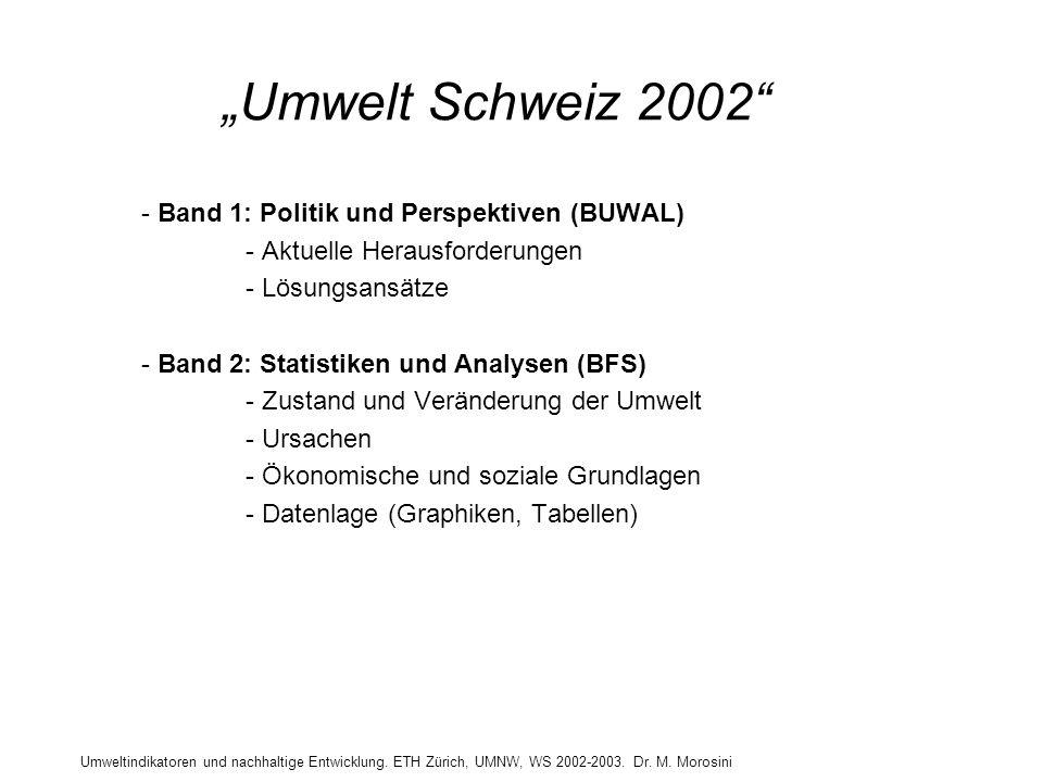 Umweltindikatoren und nachhaltige Entwicklung. ETH Zürich, UMNW, WS 2002-2003. Dr. M. Morosini Umwelt Schweiz 2002 - Band 1: Politik und Perspektiven