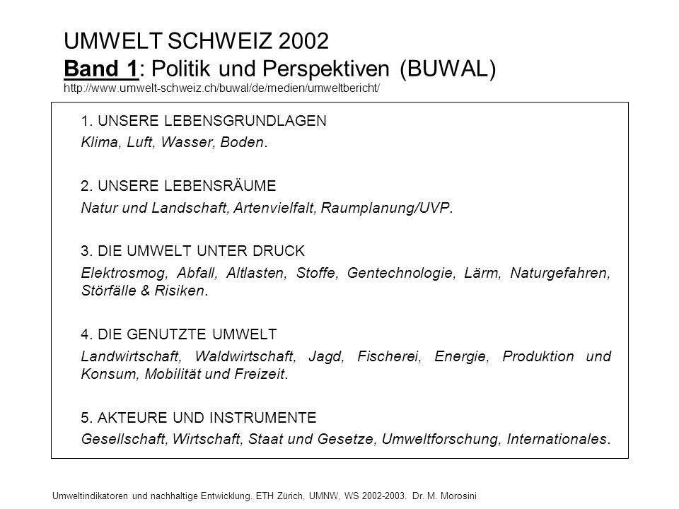 Umweltindikatoren und nachhaltige Entwicklung. ETH Zürich, UMNW, WS 2002-2003. Dr. M. Morosini UMWELT SCHWEIZ 2002 Band 1: Politik und Perspektiven (B