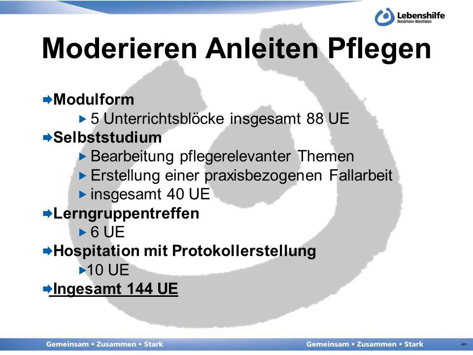 5 Moderieren Anleiten Pflegen Modulform 5 Unterrichtsblöcke insgesamt 88 UE Selbststudium Bearbeitung pflegerelevanter Themen Erstellung einer praxisb