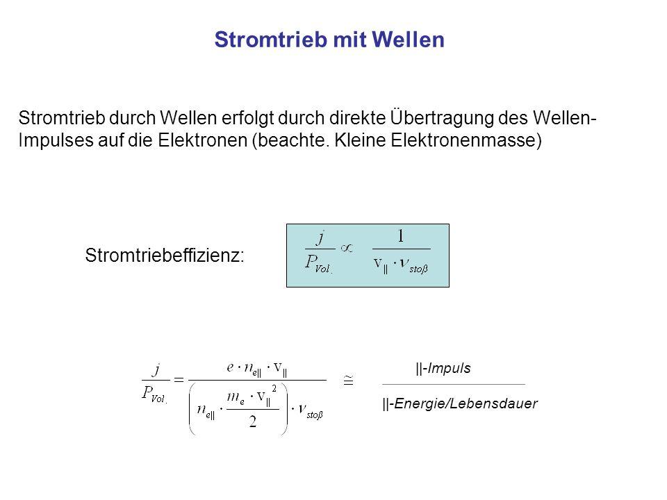 Stromtrieb mit Wellen Stromtrieb durch Wellen erfolgt durch direkte Übertragung des Wellen- Impulses auf die Elektronen (beachte.