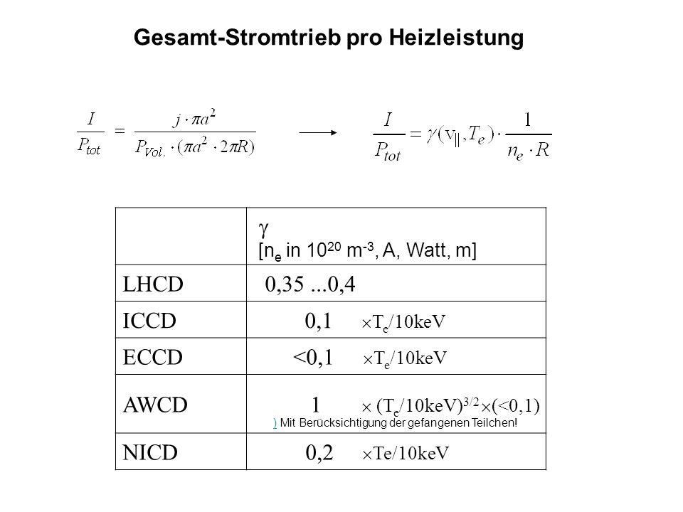 Gesamt-Stromtrieb pro Heizleistung [n e in 10 20 m -3, A, Watt, m] LHCD 0,35...0,4 ICCD 0,1 T e /10keV ECCD <0,1 T e /10keV AWCD 1 (T e /10keV) 3/2 (<0,1) NICD 0,2 Te/10keV )) Mit Berücksichtigung der gefangenen Teilchen!