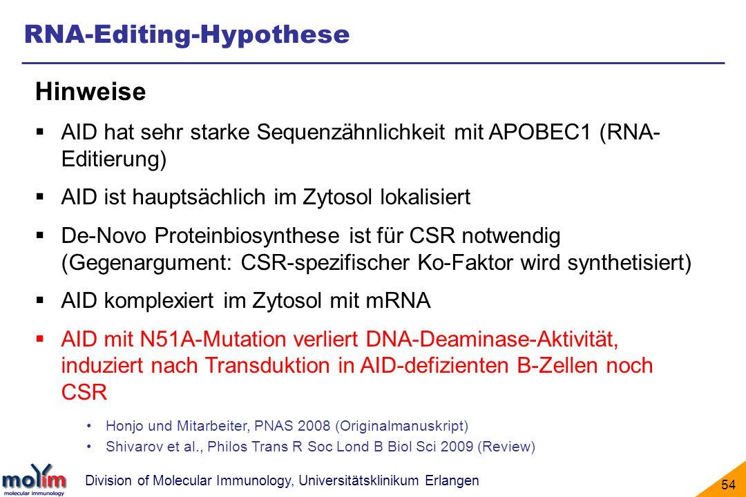 Division of Molecular Immunology, Universitätsklinikum Erlangen 54 RNA-Editing-Hypothese Hinweise AID hat sehr starke Sequenzähnlichkeit mit APOBEC1 (