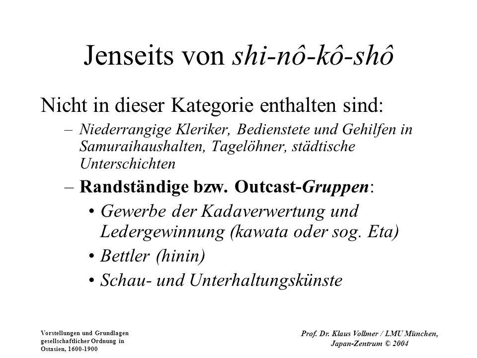 Vorstellungen und Grundlagen gesellschaftlicher Ordnung in Ostasien, 1600-1900 Prof. Dr. Klaus Vollmer / LMU München, Japan-Zentrum © 2004 Jenseits vo