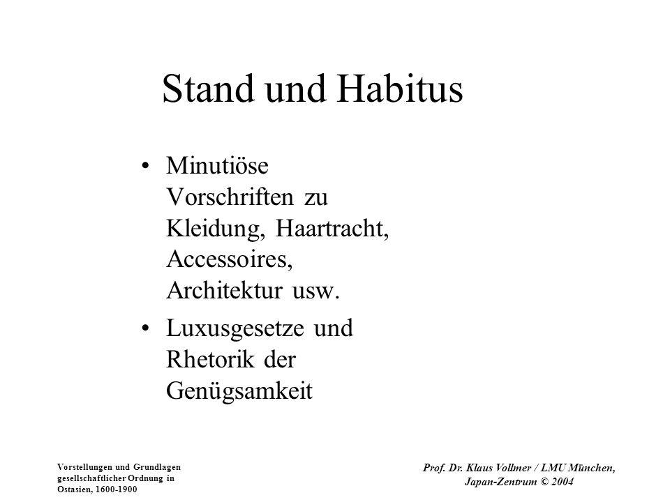 Vorstellungen und Grundlagen gesellschaftlicher Ordnung in Ostasien, 1600-1900 Prof. Dr. Klaus Vollmer / LMU München, Japan-Zentrum © 2004 Stand und H