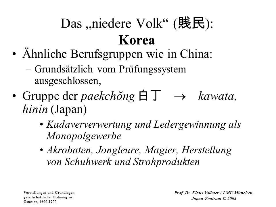 Vorstellungen und Grundlagen gesellschaftlicher Ordnung in Ostasien, 1600-1900 Prof. Dr. Klaus Vollmer / LMU München, Japan-Zentrum © 2004 Das niedere
