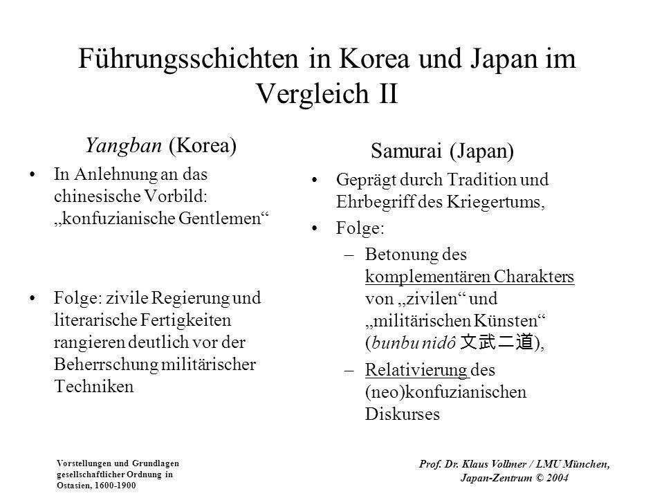 Vorstellungen und Grundlagen gesellschaftlicher Ordnung in Ostasien, 1600-1900 Prof. Dr. Klaus Vollmer / LMU München, Japan-Zentrum © 2004 Führungssch