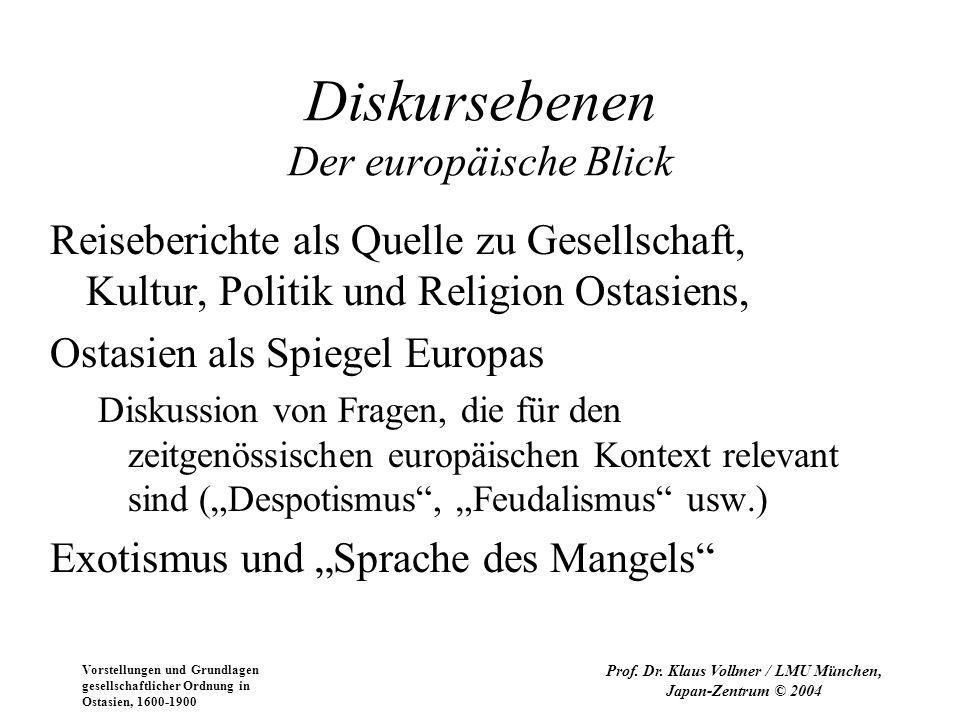 Vorstellungen und Grundlagen gesellschaftlicher Ordnung in Ostasien, 1600-1900 Prof. Dr. Klaus Vollmer / LMU München, Japan-Zentrum © 2004 Diskurseben
