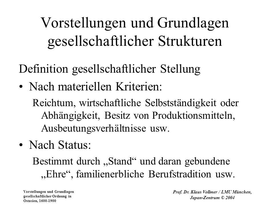 Vorstellungen und Grundlagen gesellschaftlicher Ordnung in Ostasien, 1600-1900 Prof. Dr. Klaus Vollmer / LMU München, Japan-Zentrum © 2004 Vorstellung