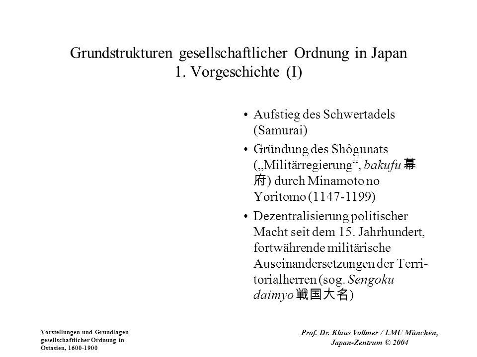 Vorstellungen und Grundlagen gesellschaftlicher Ordnung in Ostasien, 1600-1900 Prof. Dr. Klaus Vollmer / LMU München, Japan-Zentrum © 2004 Grundstrukt