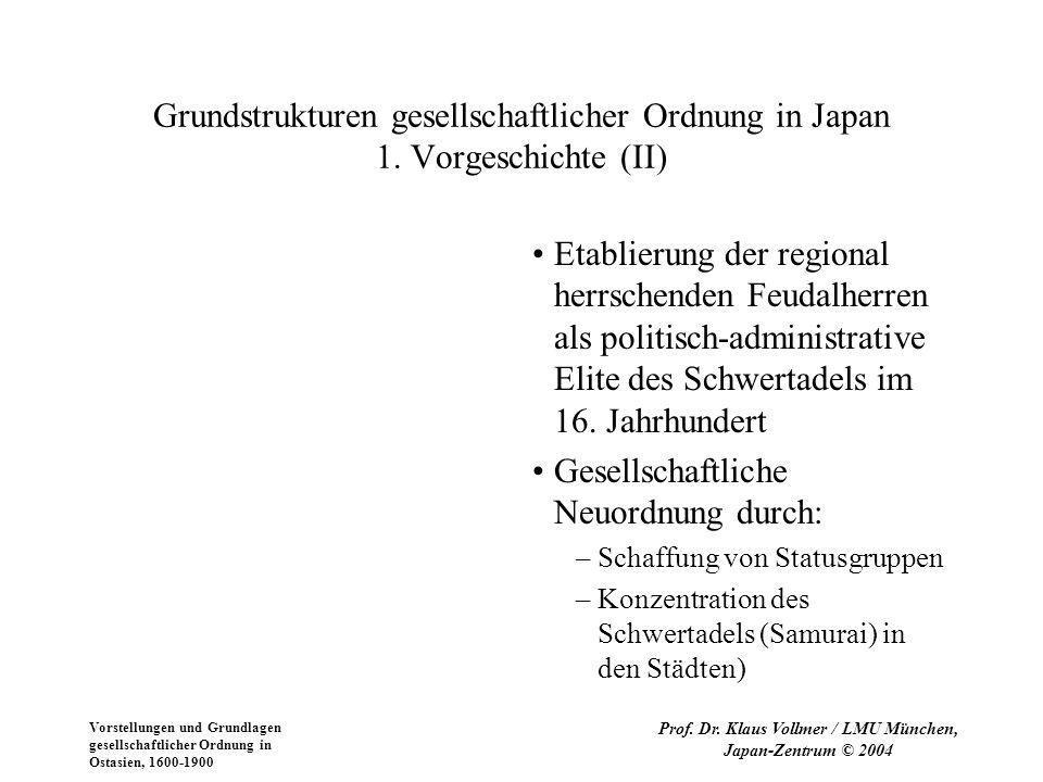 Vorstellungen und Grundlagen gesellschaftlicher Ordnung in Ostasien, 1600-1900 Prof.