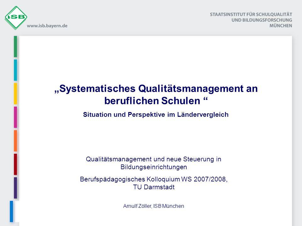 Land Interne Evaluation/ Selbstevaluation Sachstand/GrundlageAnmerkung Bayernwird erwartetManual Interne Evaluation an Bayerns Schulen, Grundlagen sind die Bereiche der externen Eval.; Für berufl.