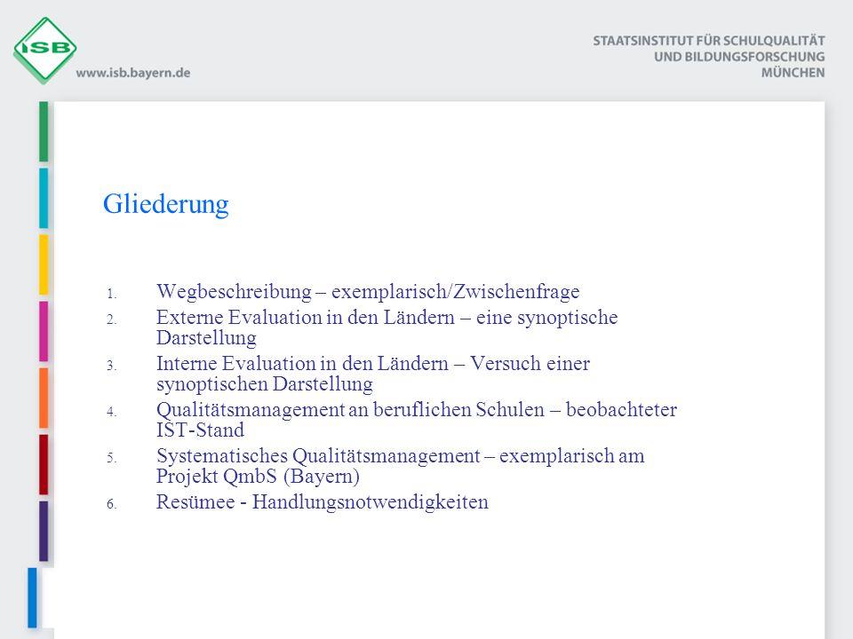 Externe Evaluation/ Schulinspektion/ Schulvisitation Kriteriengestützt (Qualitäts- bereiche, -dimensionen, - kriterien) Verbindlich bzw.