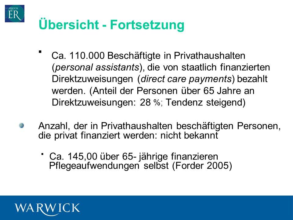 4 Ca. 110.000 Beschäftigte in Privathaushalten (personal assistants), die von staatlich finanzierten Direktzuweisungen (direct care payments) bezahlt