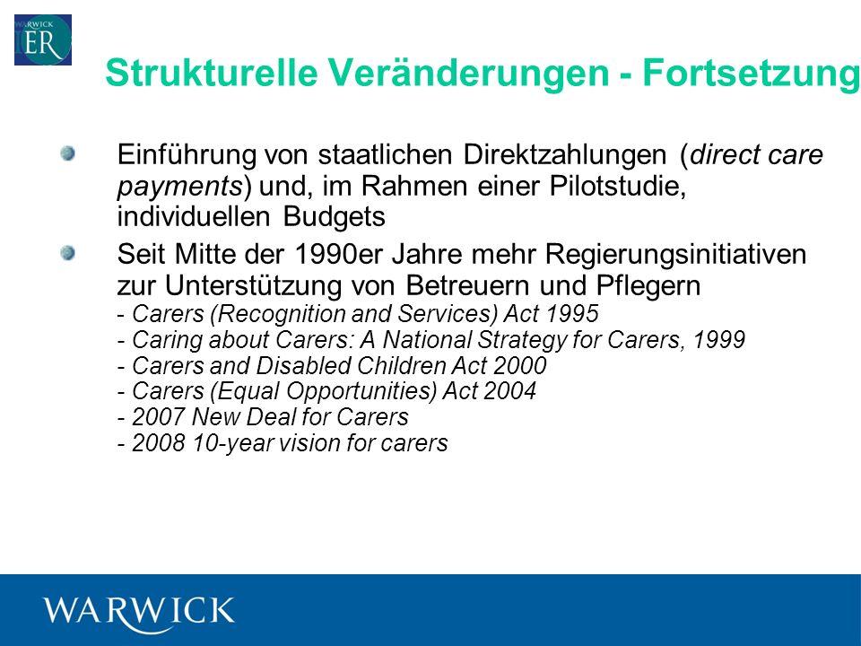 6 Einführung von staatlichen Direktzahlungen (direct care payments) und, im Rahmen einer Pilotstudie, individuellen Budgets Seit Mitte der 1990er Jahre mehr Regierungsinitiativen zur Unterstützung von Betreuern und Pflegern - Carers (Recognition and Services) Act 1995 - Caring about Carers: A National Strategy for Carers, 1999 - Carers and Disabled Children Act 2000 - Carers (Equal Opportunities) Act 2004 - 2007 New Deal for Carers - 2008 10-year vision for carers Strukturelle Veränderungen - Fortsetzung