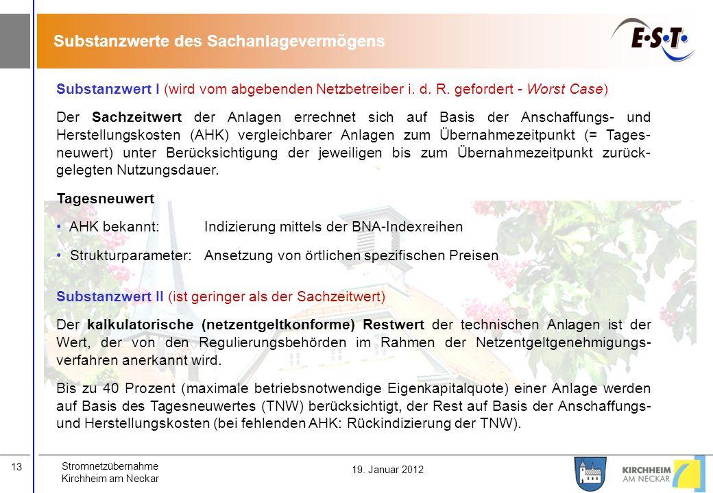 Stromnetzübernahme Kirchheim am Neckar 13 19. Januar 2012 Substanzwert I (wird vom abgebenden Netzbetreiber i. d. R. gefordert - Worst Case) Der Sachz