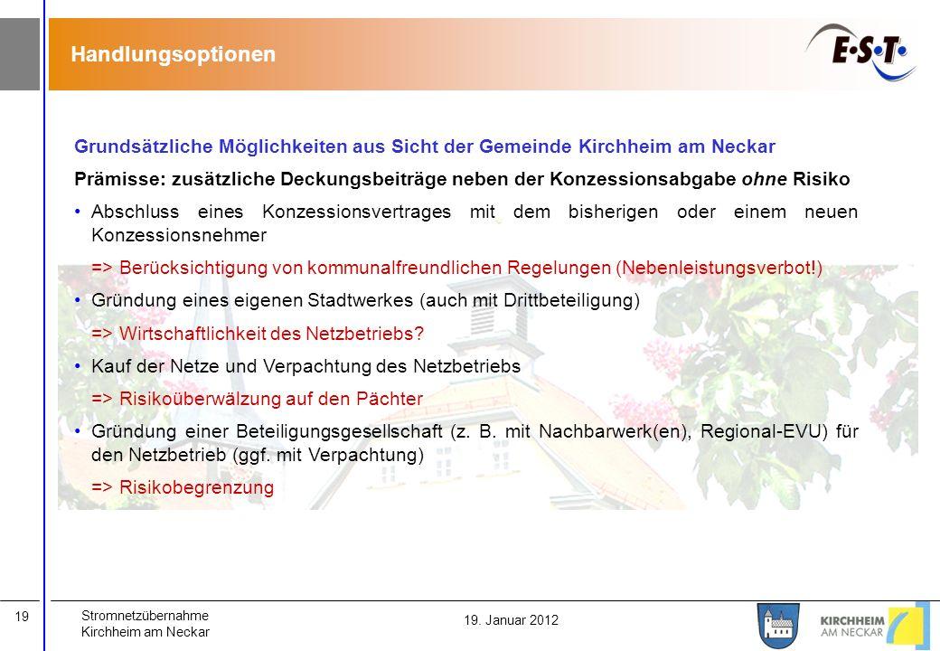 Stromnetzübernahme Kirchheim am Neckar 19 19. Januar 2012 Handlungsoptionen Grundsätzliche Möglichkeiten aus Sicht der Gemeinde Kirchheim am Neckar Pr