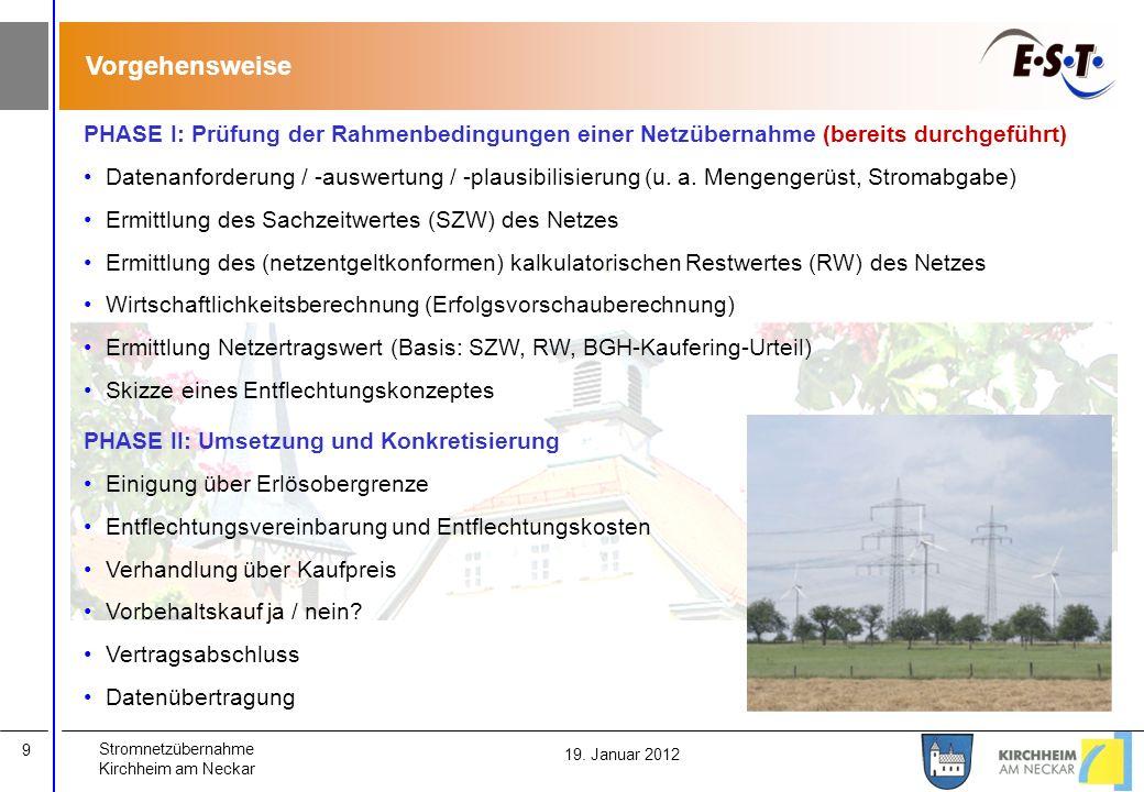 Stromnetzübernahme Kirchheim am Neckar 9 19. Januar 2012 Vorgehensweise PHASE I: Prüfung der Rahmenbedingungen einer Netzübernahme (bereits durchgefüh