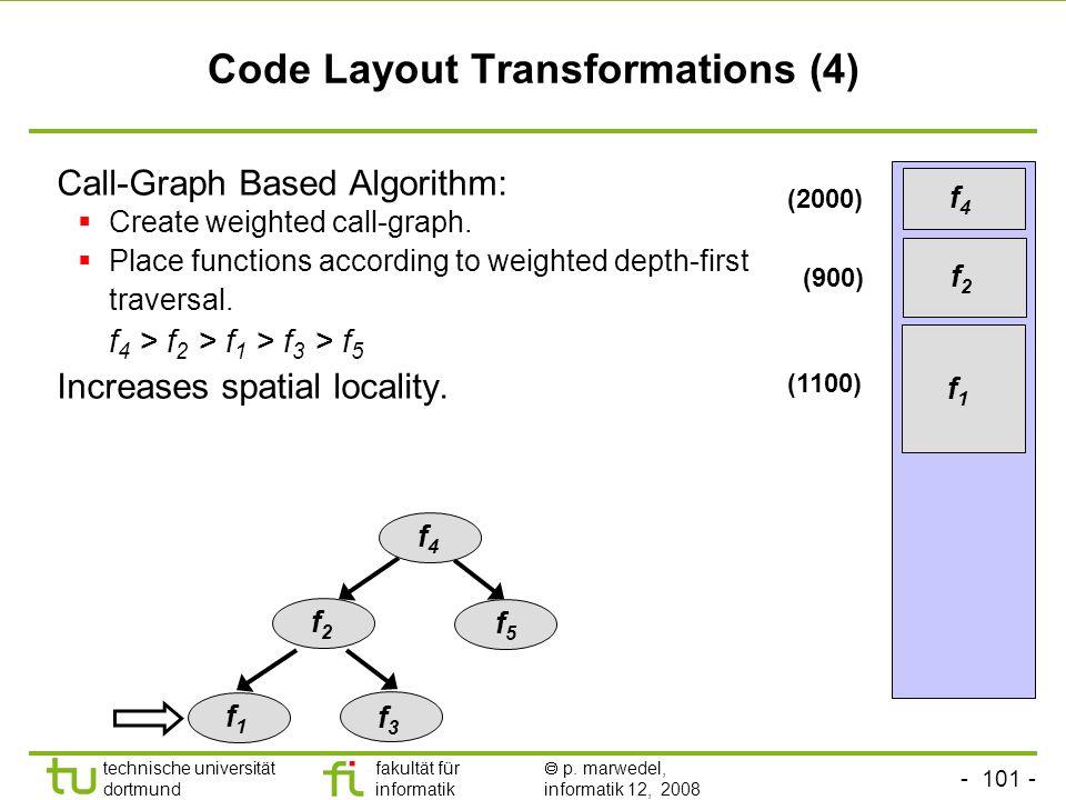 - 101 - technische universität dortmund fakultät für informatik p. marwedel, informatik 12, 2008 TU Dortmund Code Layout Transformations (4) Call-Grap