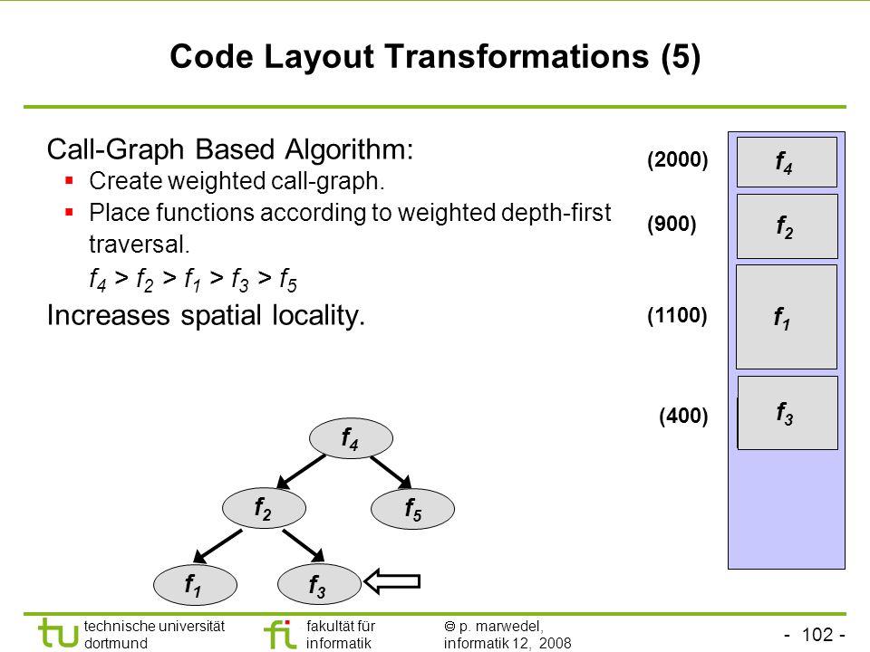 - 102 - technische universität dortmund fakultät für informatik p. marwedel, informatik 12, 2008 TU Dortmund Code Layout Transformations (5) Call-Grap