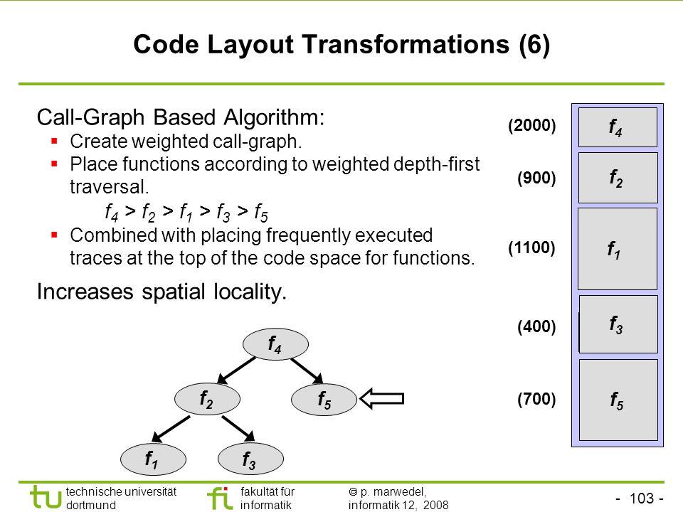 - 103 - technische universität dortmund fakultät für informatik p. marwedel, informatik 12, 2008 TU Dortmund Code Layout Transformations (6) Call-Grap