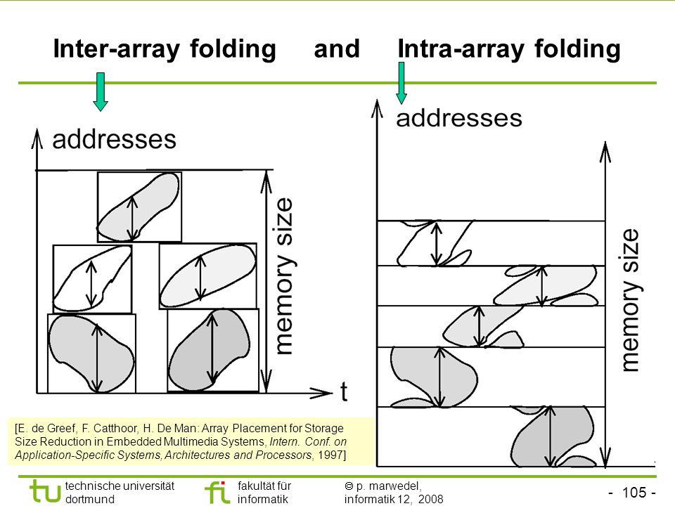 - 105 - technische universität dortmund fakultät für informatik p. marwedel, informatik 12, 2008 TU Dortmund Inter-array folding and Intra-array foldi
