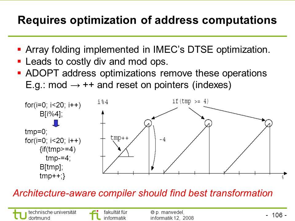 - 106 - technische universität dortmund fakultät für informatik p. marwedel, informatik 12, 2008 TU Dortmund Requires optimization of address computat