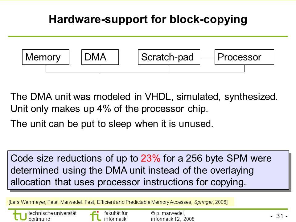 - 31 - technische universität dortmund fakultät für informatik p. marwedel, informatik 12, 2008 TU Dortmund Hardware-support for block-copying The DMA