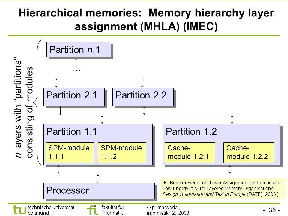 - 35 - technische universität dortmund fakultät für informatik p. marwedel, informatik 12, 2008 TU Dortmund Hierarchical memories: Memory hierarchy la