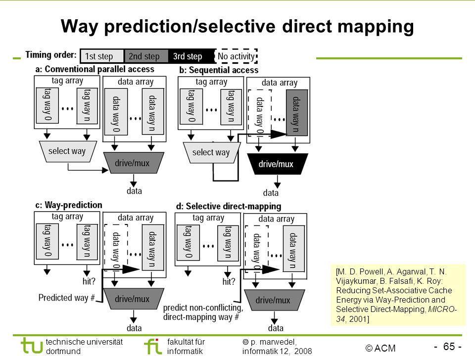 - 65 - technische universität dortmund fakultät für informatik p. marwedel, informatik 12, 2008 TU Dortmund Way prediction/selective direct mapping [M