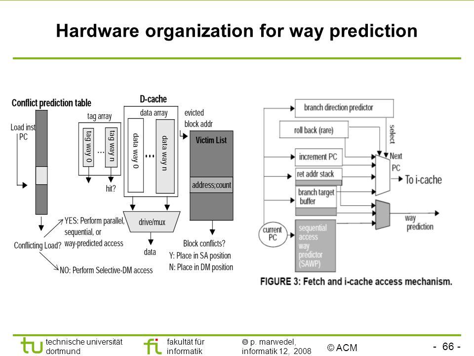 - 66 - technische universität dortmund fakultät für informatik p. marwedel, informatik 12, 2008 TU Dortmund Hardware organization for way prediction ©