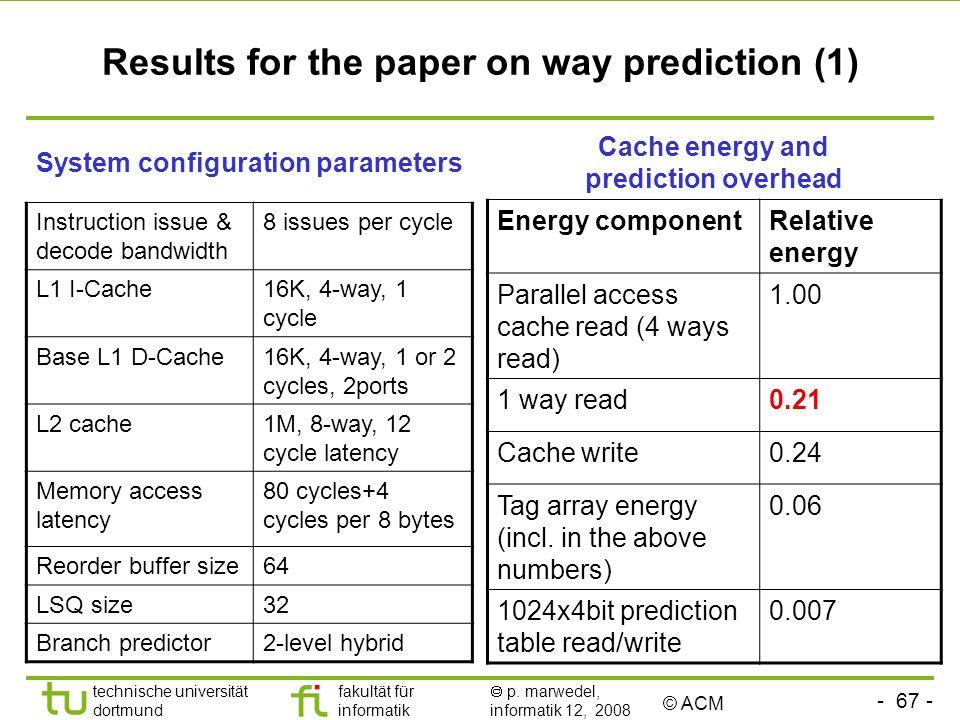 - 67 - technische universität dortmund fakultät für informatik p. marwedel, informatik 12, 2008 TU Dortmund Results for the paper on way prediction (1