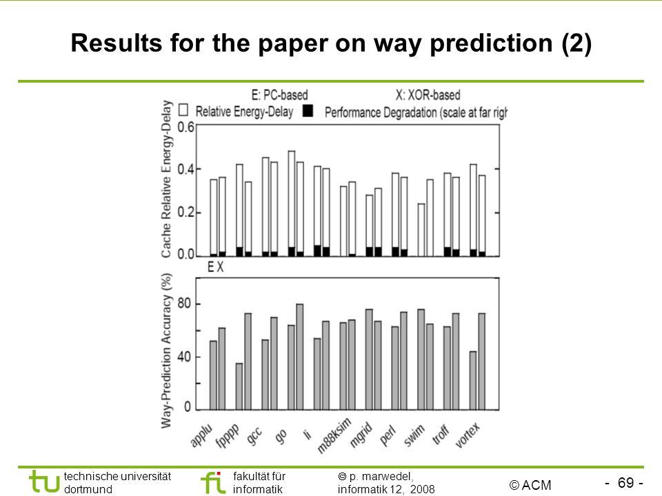 - 69 - technische universität dortmund fakultät für informatik p. marwedel, informatik 12, 2008 TU Dortmund Results for the paper on way prediction (2