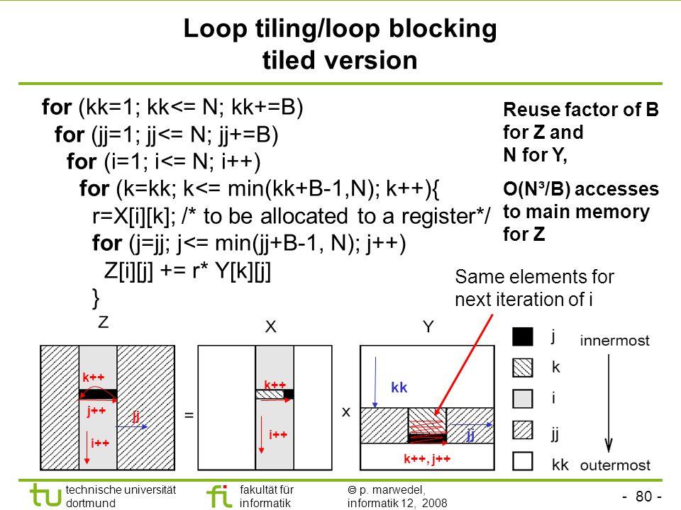 - 80 - technische universität dortmund fakultät für informatik p. marwedel, informatik 12, 2008 TU Dortmund Loop tiling/loop blocking tiled version fo