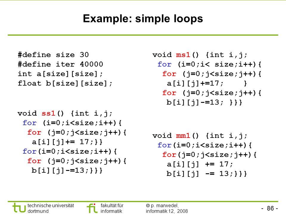 - 86 - technische universität dortmund fakultät für informatik p. marwedel, informatik 12, 2008 TU Dortmund Example: simple loops void ss1() {int i,j;