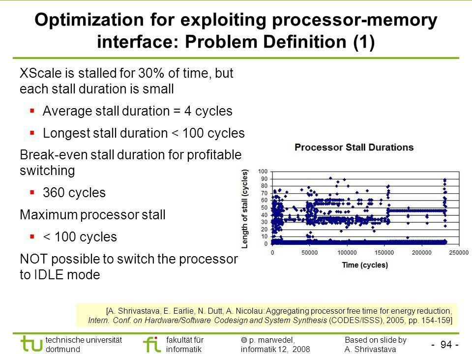 - 94 - technische universität dortmund fakultät für informatik p. marwedel, informatik 12, 2008 TU Dortmund Optimization for exploiting processor-memo