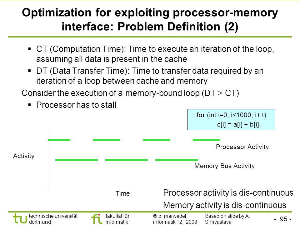 - 95 - technische universität dortmund fakultät für informatik p. marwedel, informatik 12, 2008 TU Dortmund Optimization for exploiting processor-memo