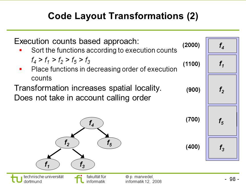 - 98 - technische universität dortmund fakultät für informatik p. marwedel, informatik 12, 2008 TU Dortmund Code Layout Transformations (2) Execution